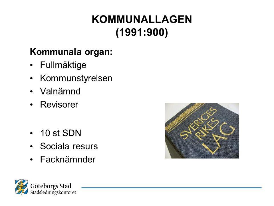 KOMMUNALLAGEN (1991:900) Kommunala organ: Fullmäktige Kommunstyrelsen