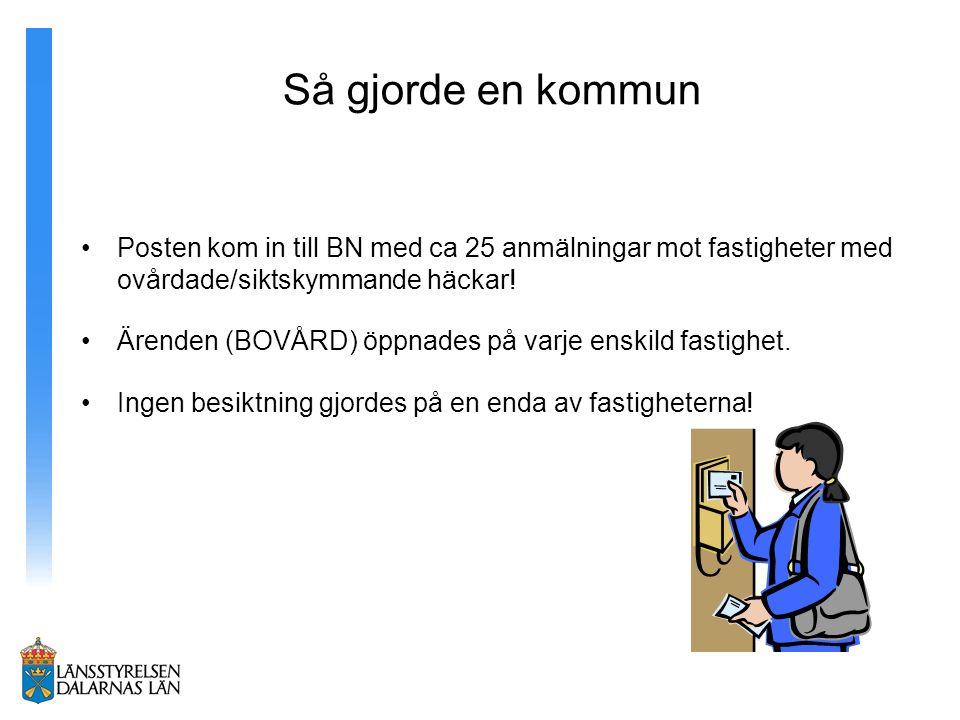 Så gjorde en kommun Posten kom in till BN med ca 25 anmälningar mot fastigheter med ovårdade/siktskymmande häckar!