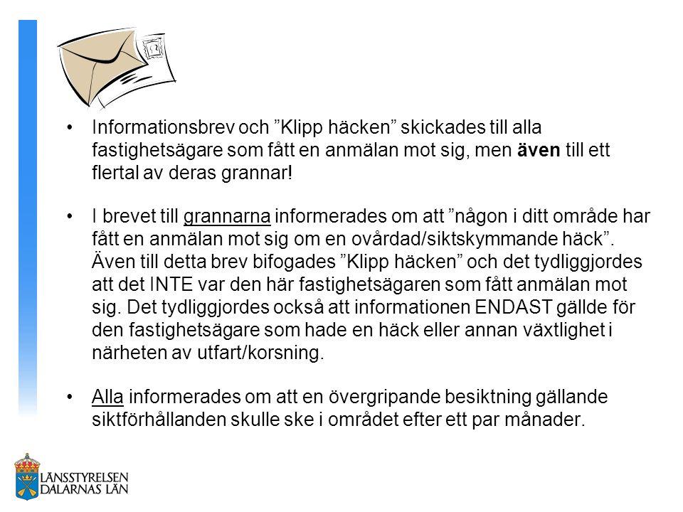 Informationsbrev och Klipp häcken skickades till alla fastighetsägare som fått en anmälan mot sig, men även till ett flertal av deras grannar!