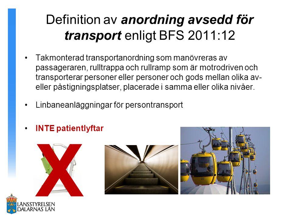 Definition av anordning avsedd för transport enligt BFS 2011:12