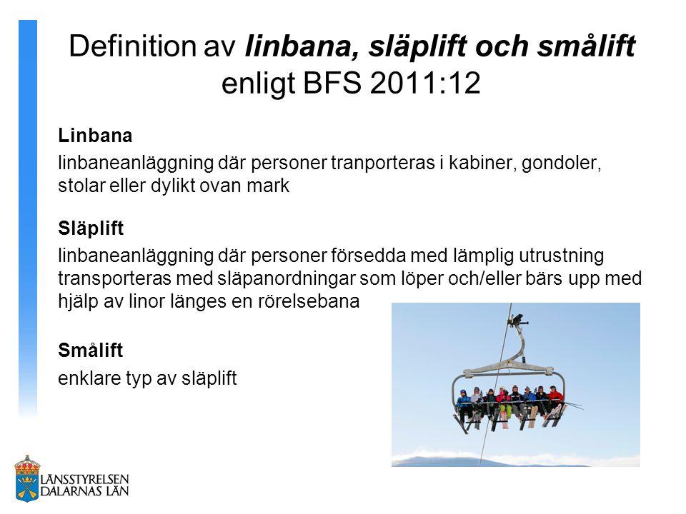 Definition av linbana, släplift och smålift enligt BFS 2011:12
