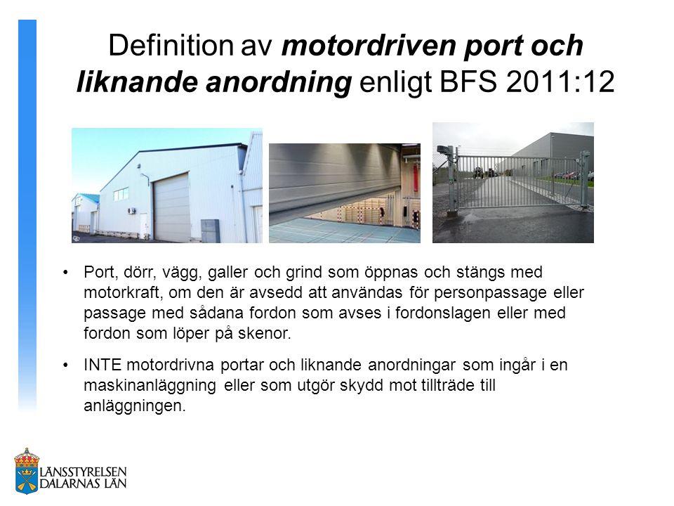 Definition av motordriven port och liknande anordning enligt BFS 2011:12