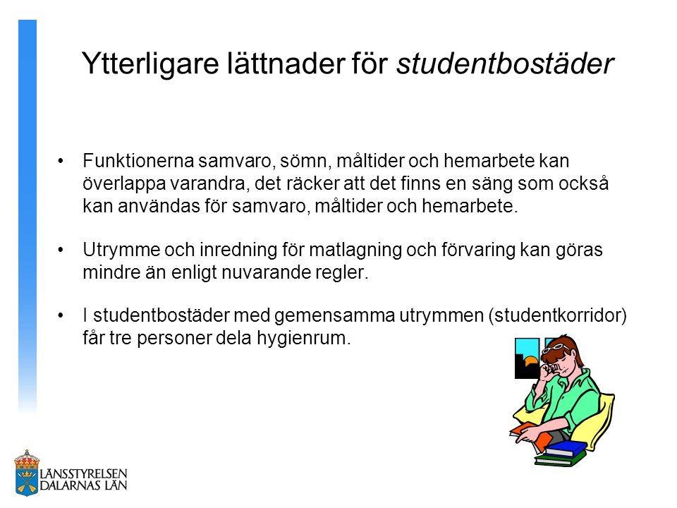 Ytterligare lättnader för studentbostäder