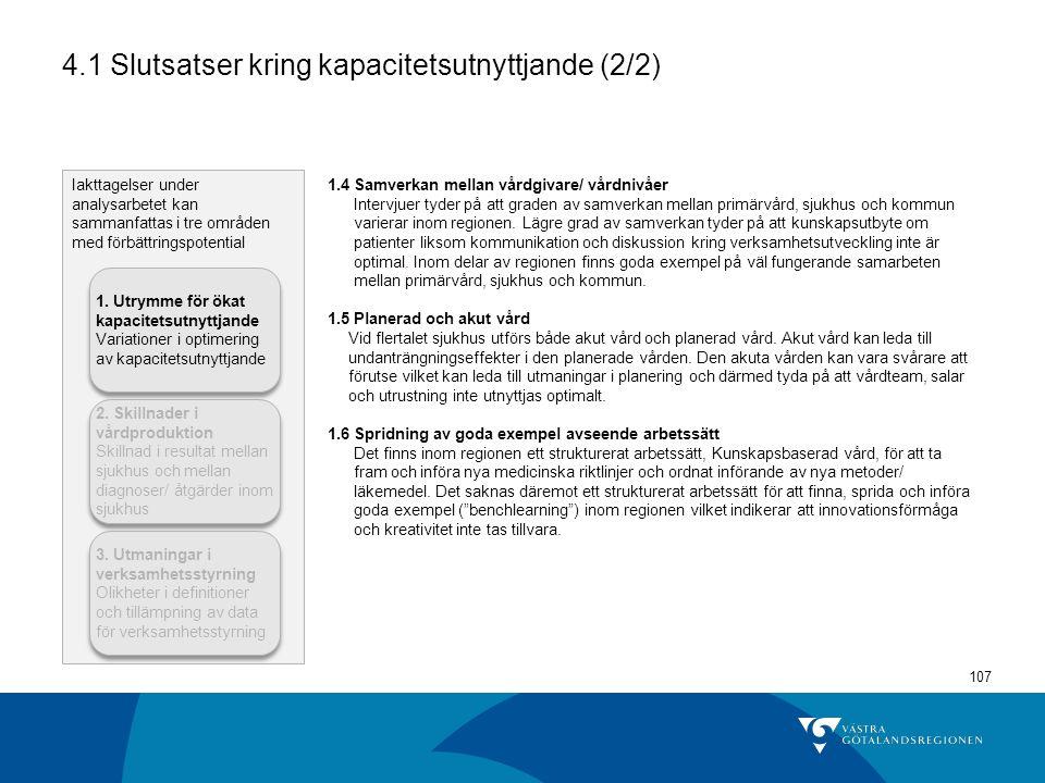 4.1 Slutsatser kring kapacitetsutnyttjande (2/2)