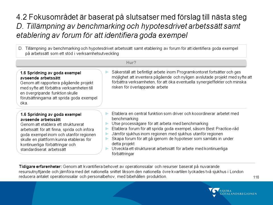 4.2 Fokusområdet är baserat på slutsatser med förslag till nästa steg D. Tillämpning av benchmarking och hypotesdrivet arbetssätt samt etablering av forum för att identifiera goda exempel