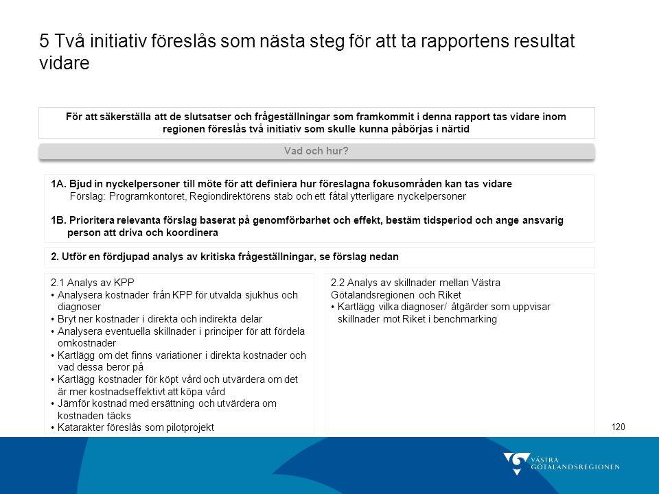 5 Två initiativ föreslås som nästa steg för att ta rapportens resultat vidare