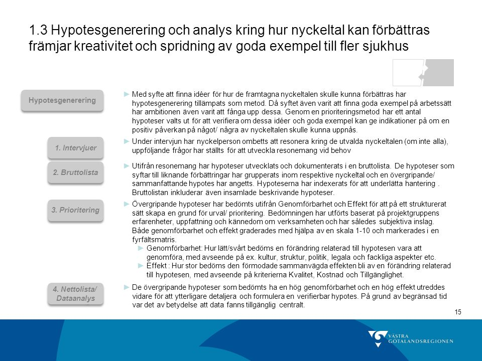 1.3 Hypotesgenerering och analys kring hur nyckeltal kan förbättras främjar kreativitet och spridning av goda exempel till fler sjukhus