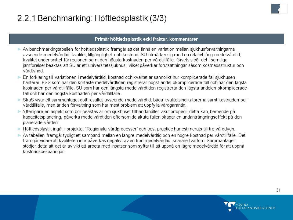 2.2.1 Benchmarking: Höftledsplastik (3/3)