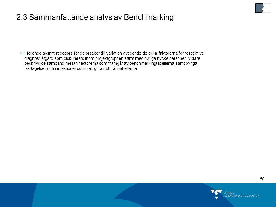 2.3 Sammanfattande analys av Benchmarking
