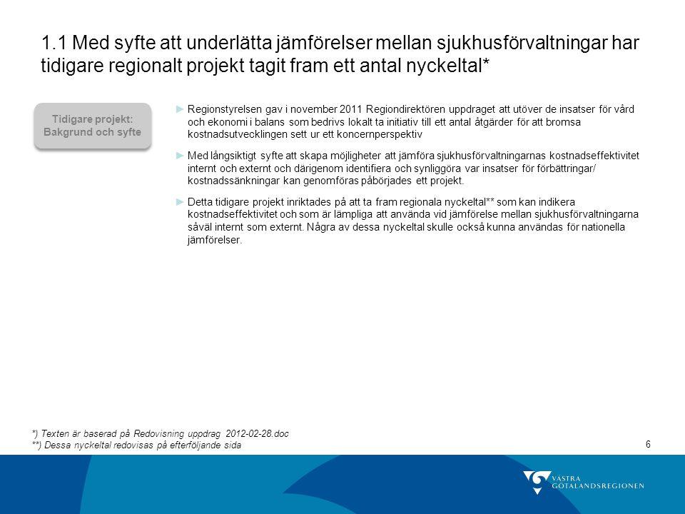 1.1 Med syfte att underlätta jämförelser mellan sjukhusförvaltningar har tidigare regionalt projekt tagit fram ett antal nyckeltal*