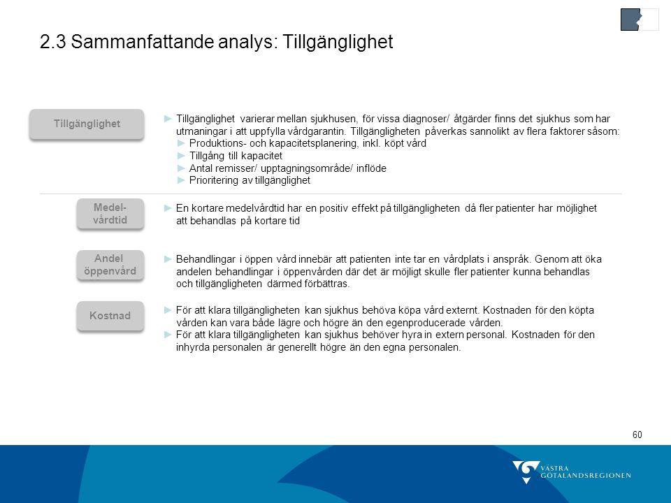 2.3 Sammanfattande analys: Tillgänglighet