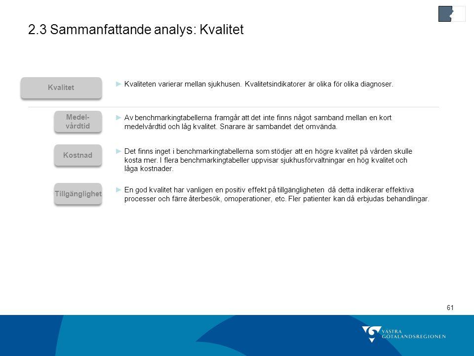 2.3 Sammanfattande analys: Kvalitet