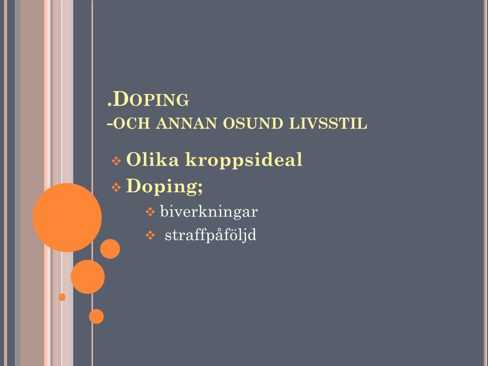 .Doping -och annan osund livsstil