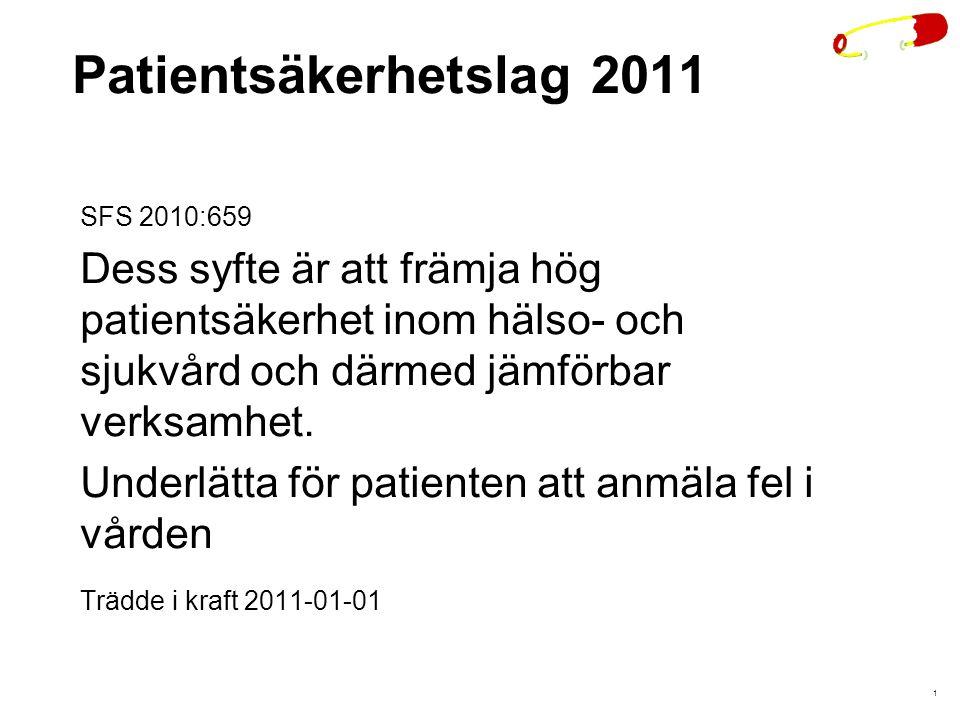 Patientsäkerhetslag 2011 SFS 2010:659. Dess syfte är att främja hög patientsäkerhet inom hälso- och sjukvård och därmed jämförbar verksamhet.