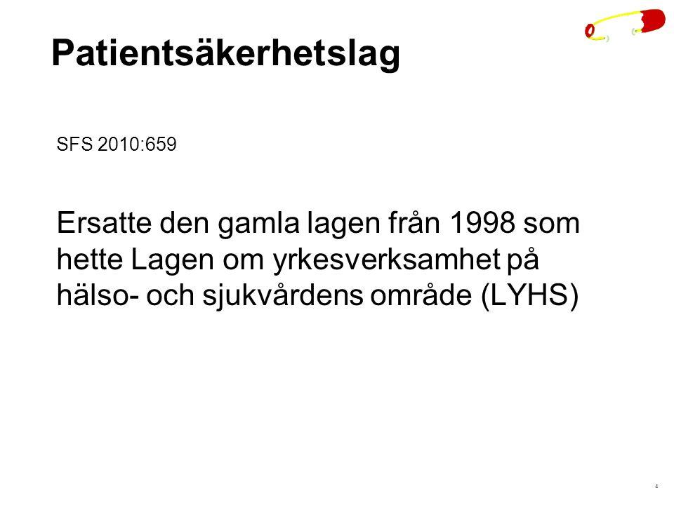 Patientsäkerhetslag SFS 2010:659. Ersatte den gamla lagen från 1998 som hette Lagen om yrkesverksamhet på hälso- och sjukvårdens område (LYHS)