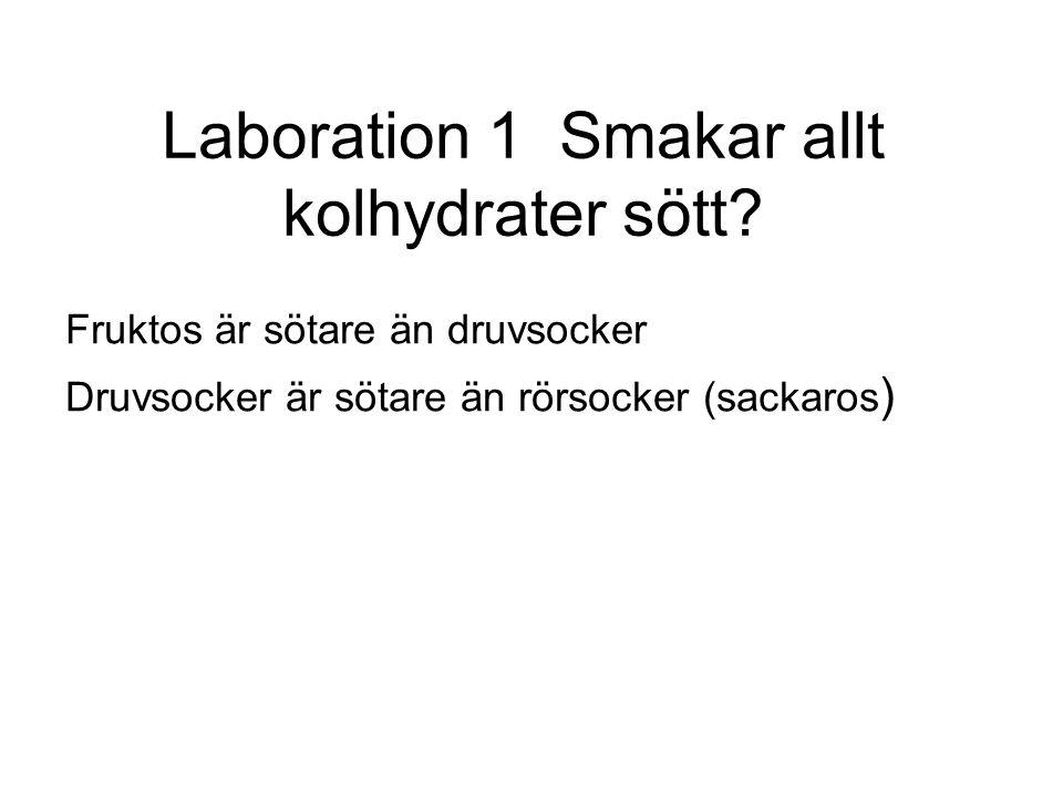 Laboration 1 Smakar allt kolhydrater sött