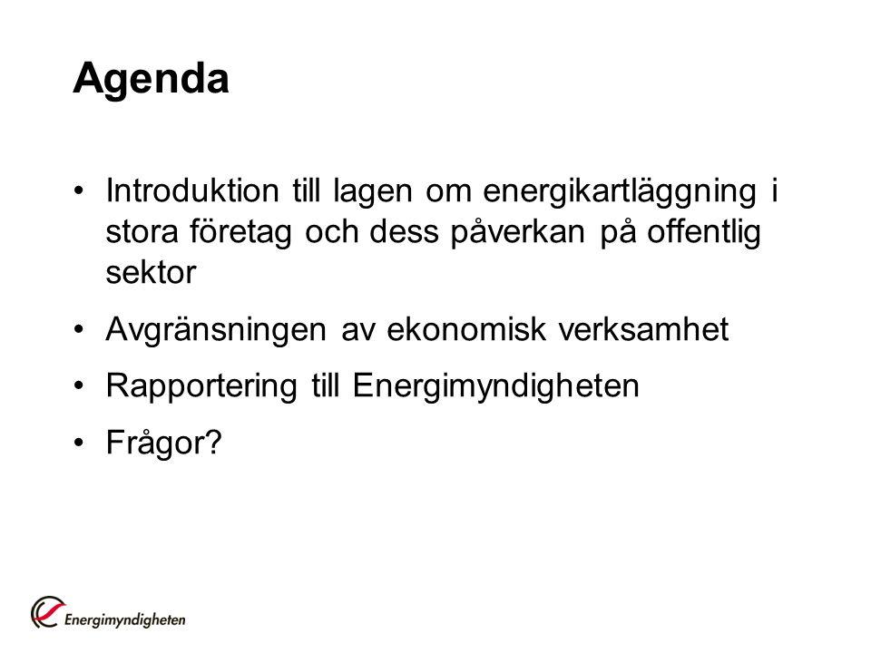 Agenda Introduktion till lagen om energikartläggning i stora företag och dess påverkan på offentlig sektor.