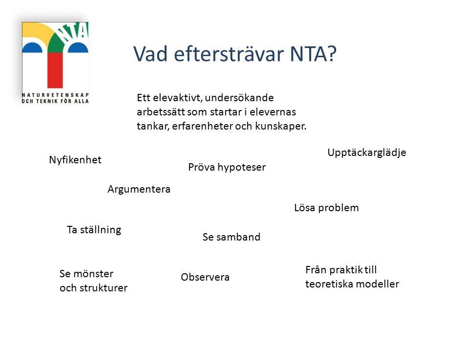 Vad eftersträvar NTA Ett elevaktivt, undersökande arbetssätt som startar i elevernas tankar, erfarenheter och kunskaper.