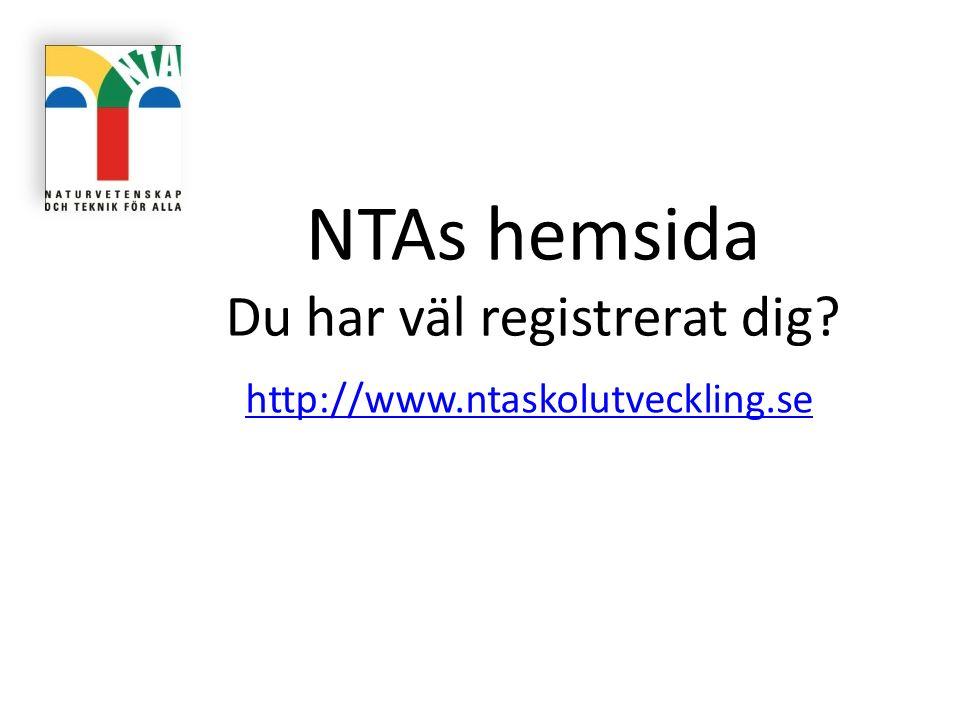 NTAs hemsida Du har väl registrerat dig