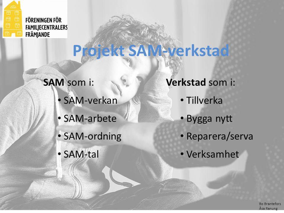 Projekt SAM-verkstad SAM som i: SAM-verkan SAM-arbete SAM-ordning