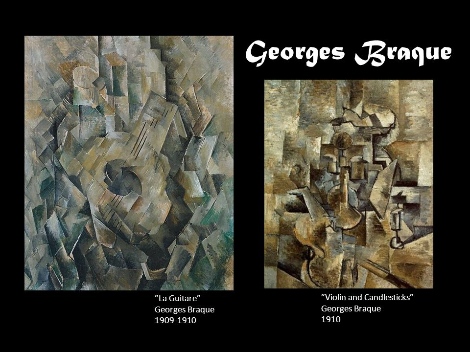 Georges Braque La Guitare Violin and Candlesticks Georges Braque
