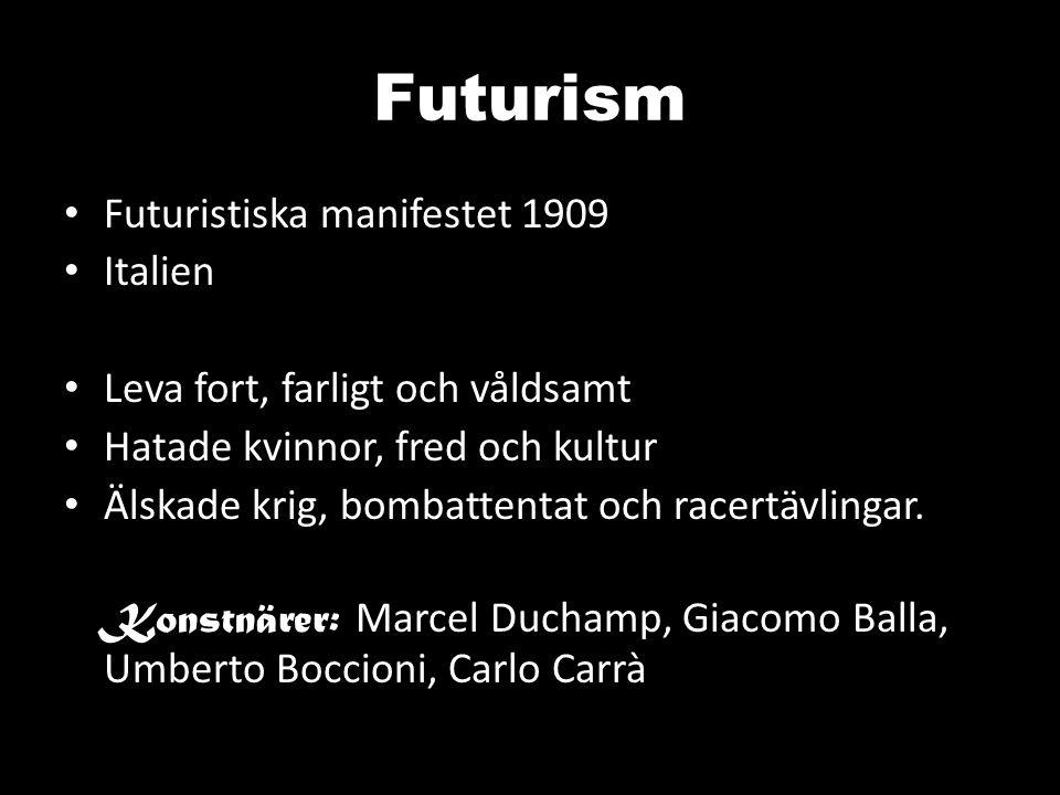 Futurism Futuristiska manifestet 1909 Italien