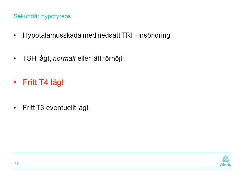 Fritt T4 lågt Hypotalamusskada med nedsatt TRH-insöndring