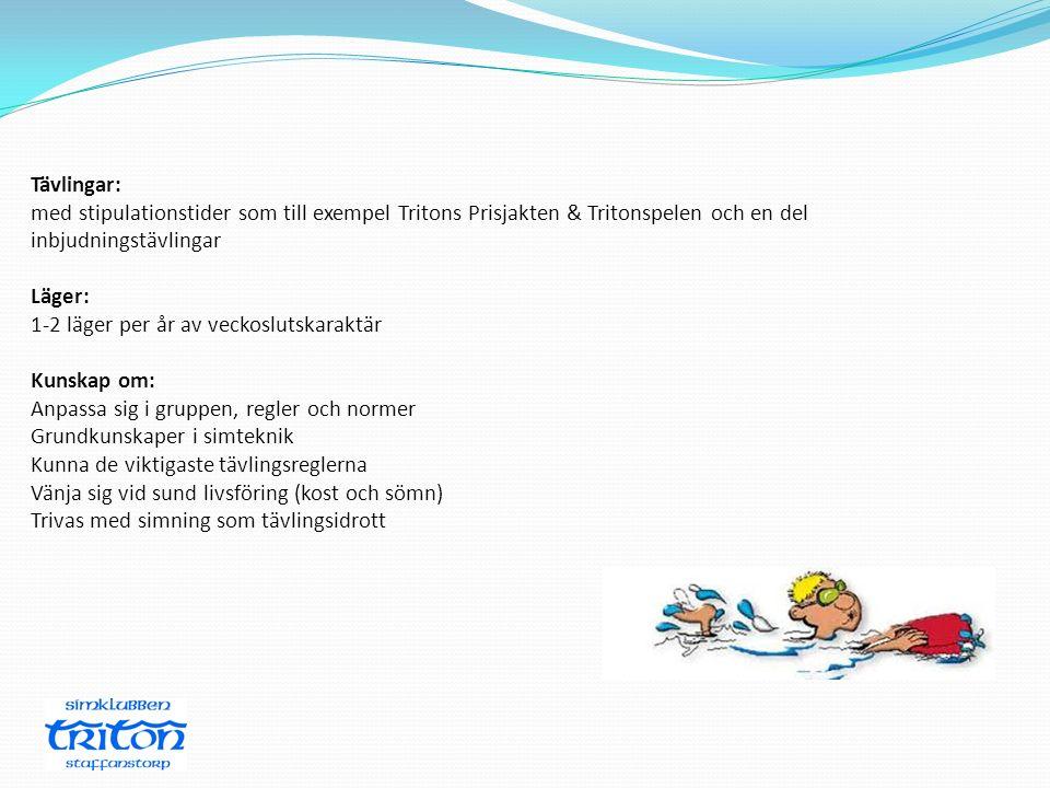 Tävlingar: med stipulationstider som till exempel Tritons Prisjakten & Tritonspelen och en del inbjudningstävlingar.