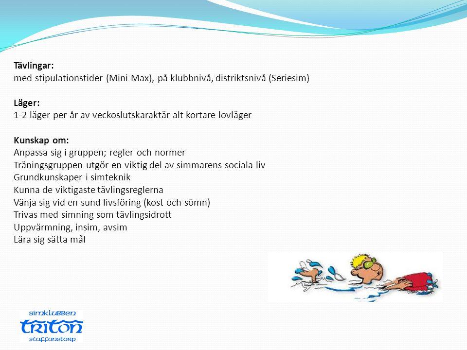 Tävlingar: med stipulationstider (Mini-Max), på klubbnivå, distriktsnivå (Seriesim) Läger: