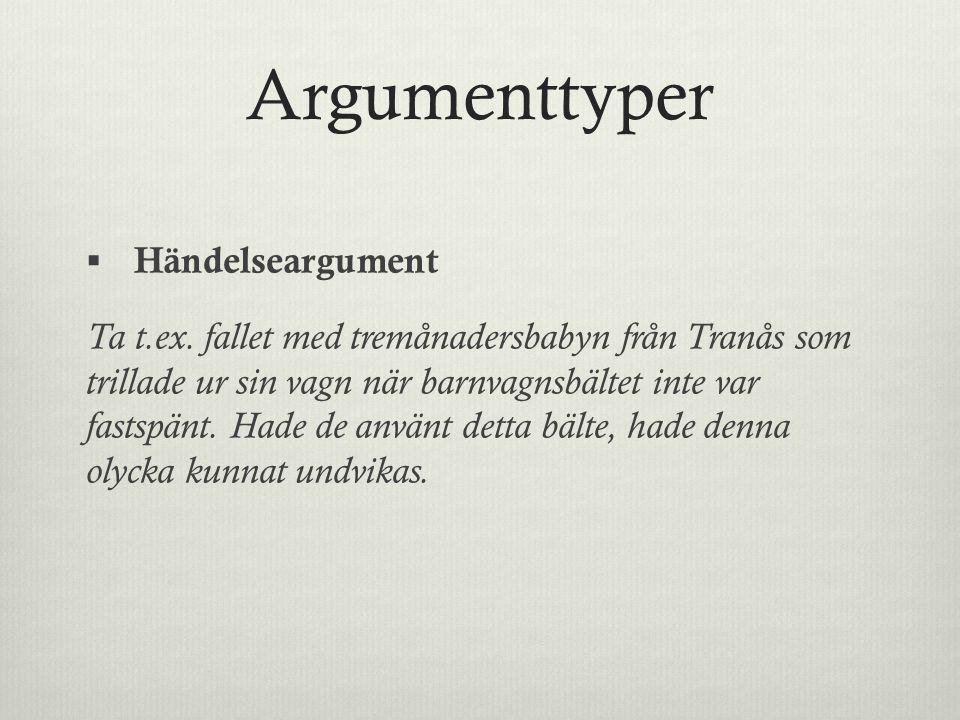 Argumenttyper Händelseargument