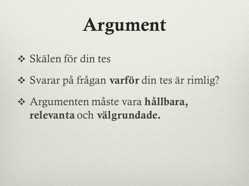 Argument Skälen för din tes Svarar på frågan varför din tes är rimlig