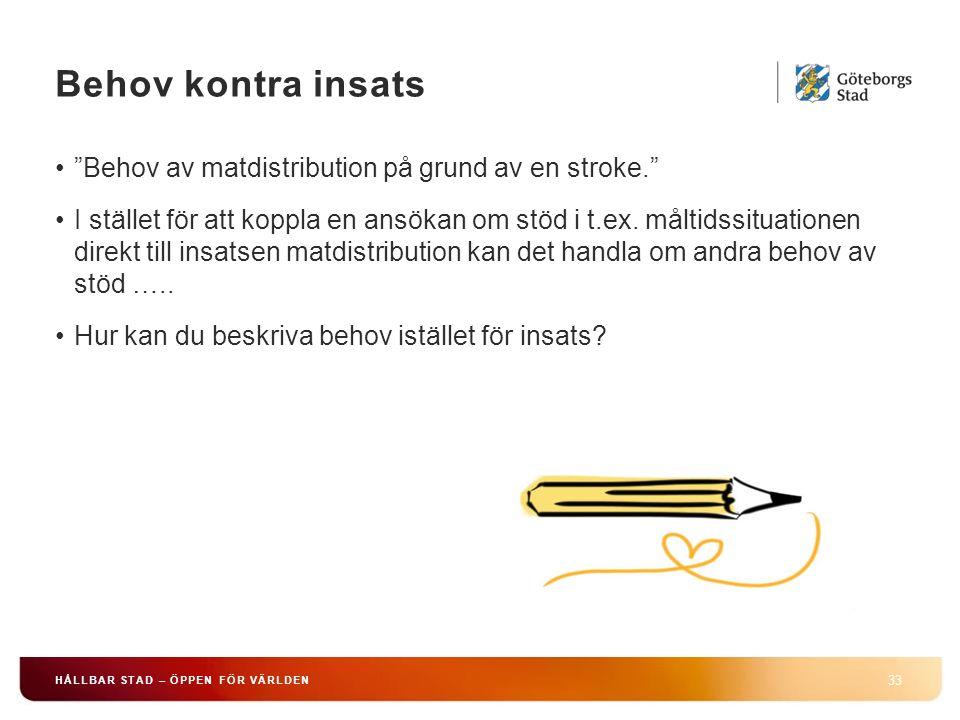 Behov kontra insats Behov av matdistribution på grund av en stroke.