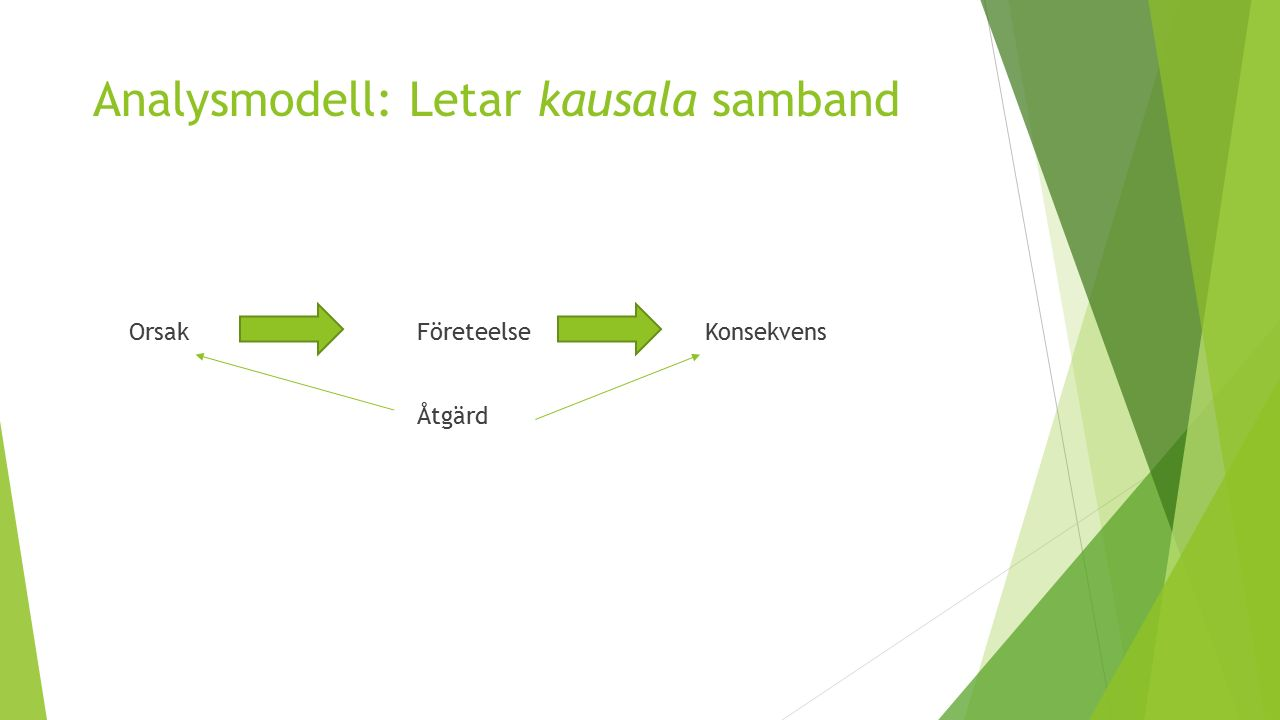 Analysmodell: Letar kausala samband