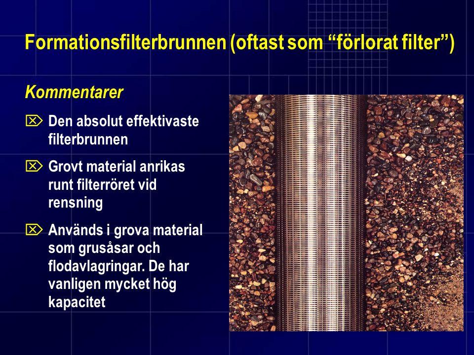 Formationsfilterbrunnen (oftast som förlorat filter )