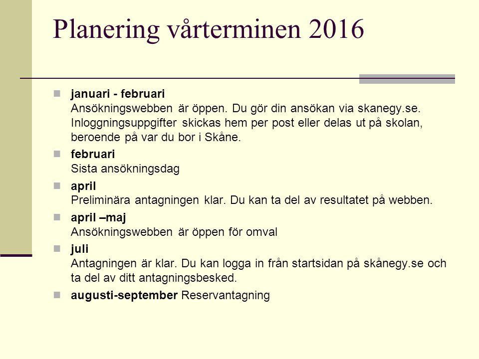 Planering vårterminen 2016