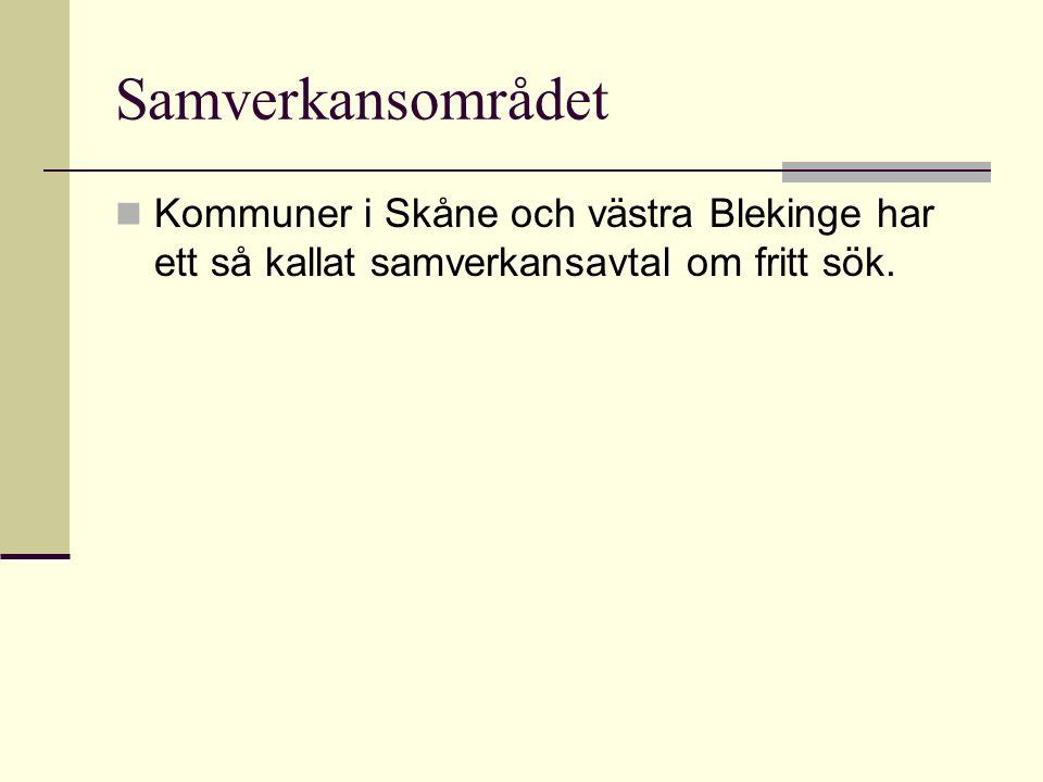 Samverkansområdet Kommuner i Skåne och västra Blekinge har ett så kallat samverkansavtal om fritt sök.