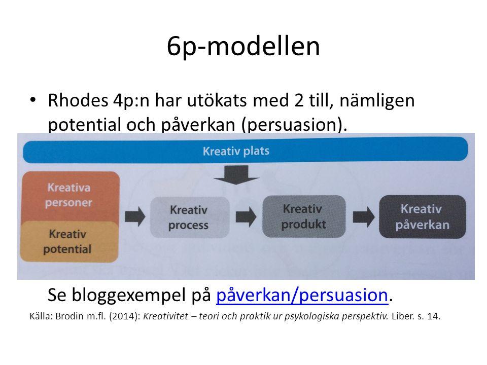 6p-modellen Rhodes 4p:n har utökats med 2 till, nämligen potential och påverkan (persuasion). Se bloggexempel på påverkan/persuasion.