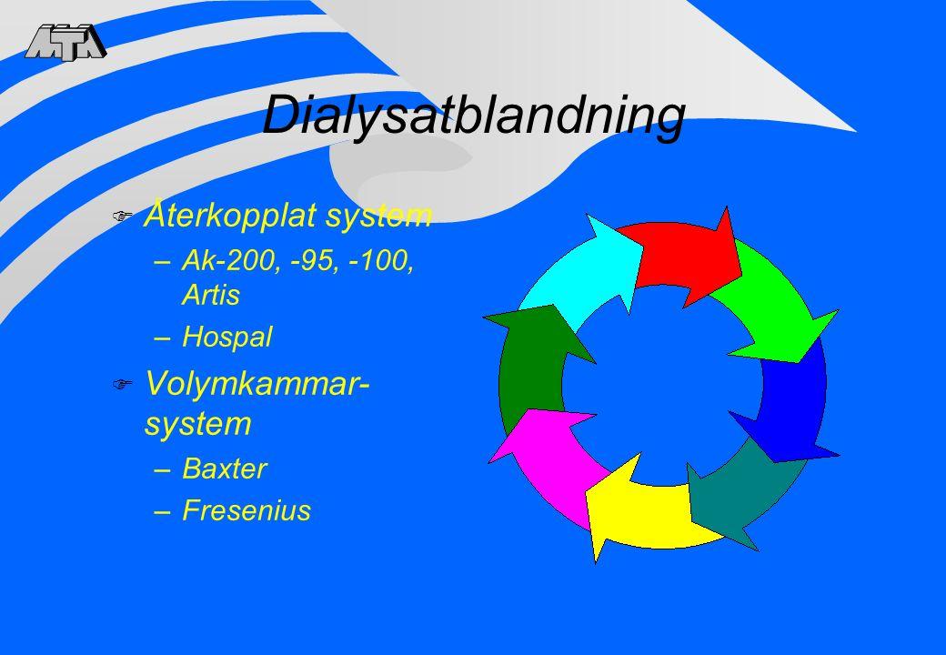 Dialysatblandning Återkopplat system Volymkammar-system