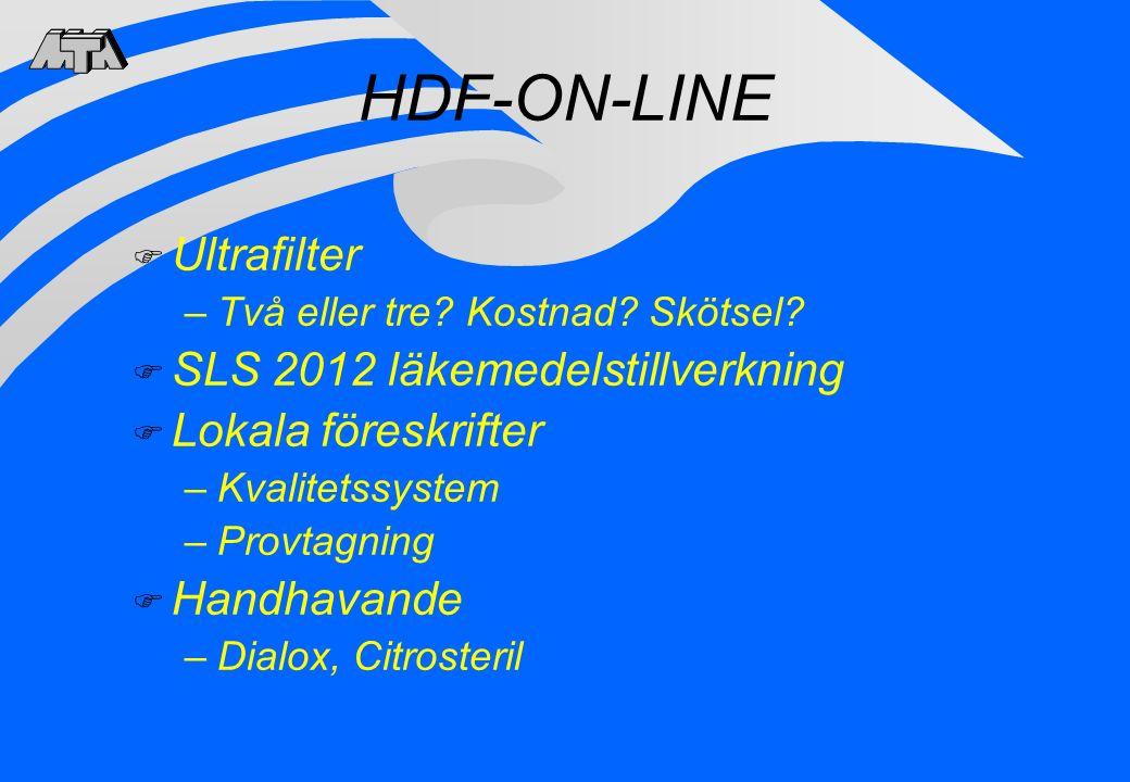 HDF-ON-LINE Ultrafilter SLS 2012 läkemedelstillverkning