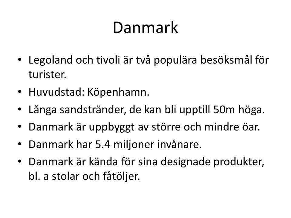 Danmark Legoland och tivoli är två populära besöksmål för turister.