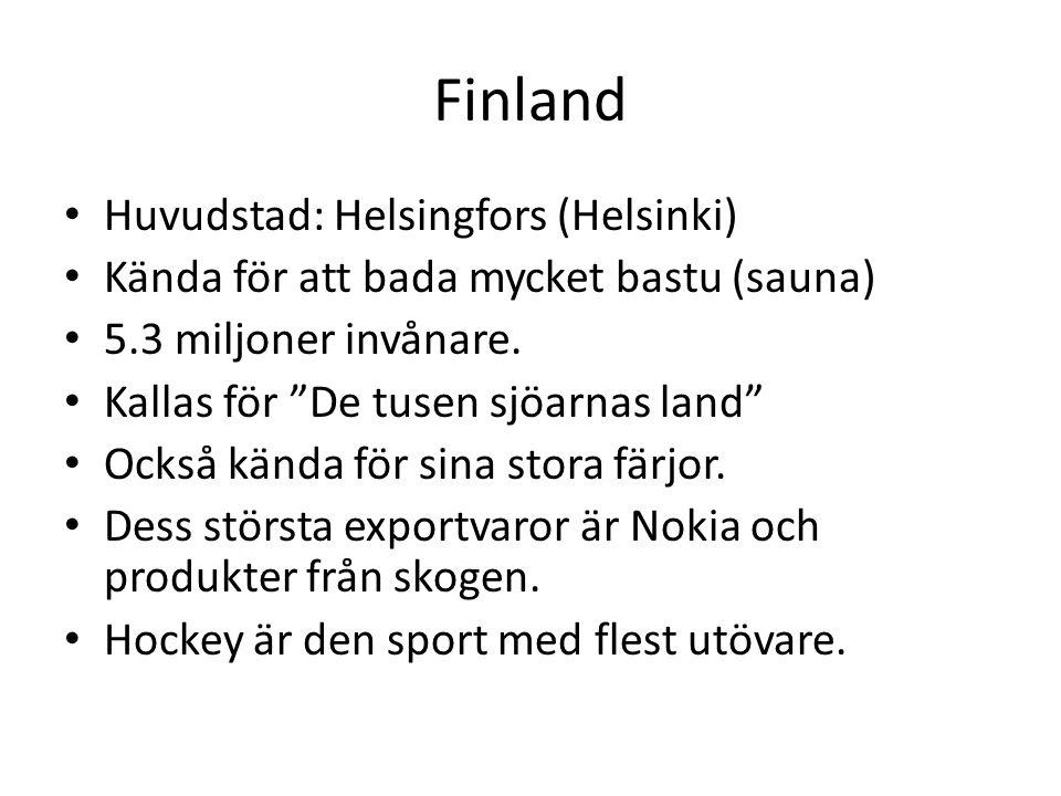 Finland Huvudstad: Helsingfors (Helsinki)