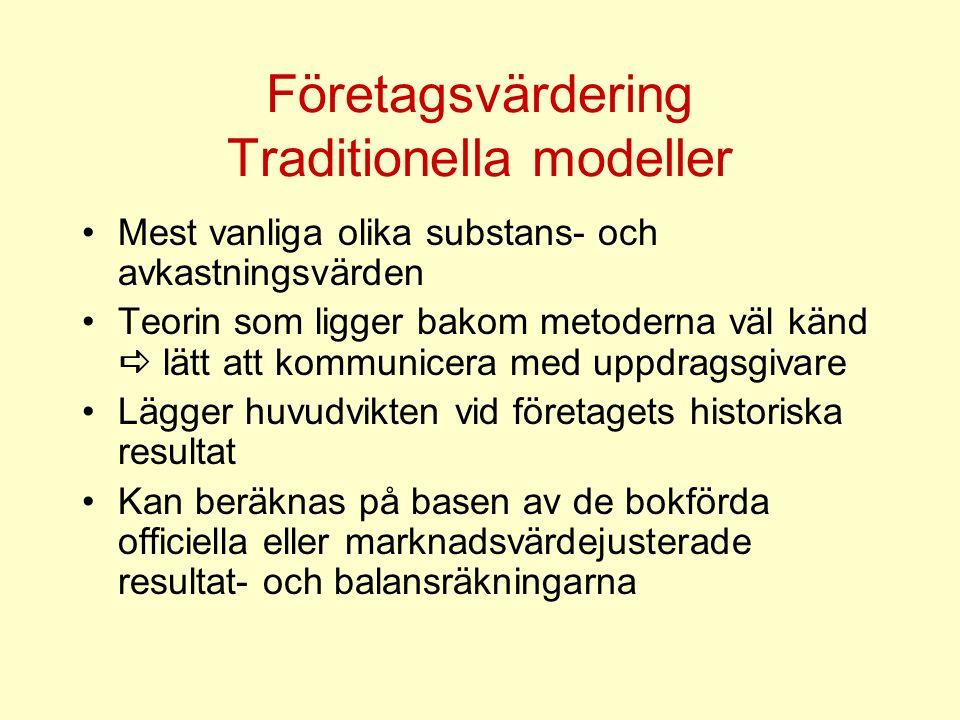 Företagsvärdering Traditionella modeller