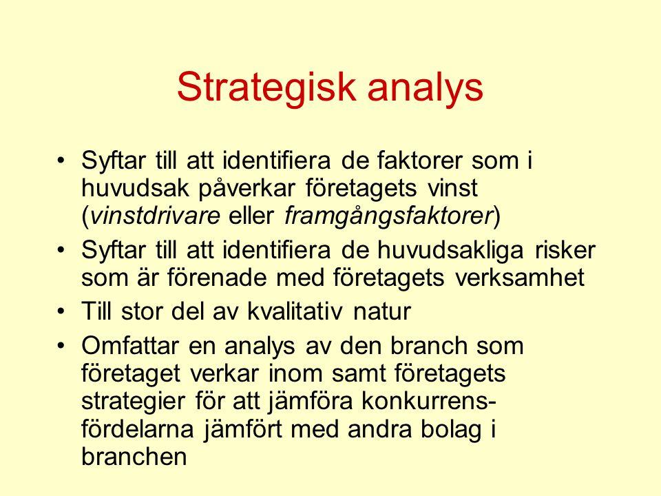Strategisk analys Syftar till att identifiera de faktorer som i huvudsak påverkar företagets vinst (vinstdrivare eller framgångsfaktorer)