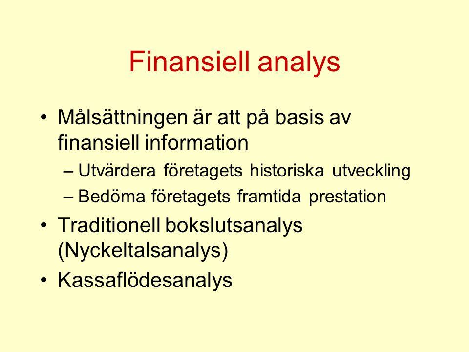 Finansiell analys Målsättningen är att på basis av finansiell information. Utvärdera företagets historiska utveckling.