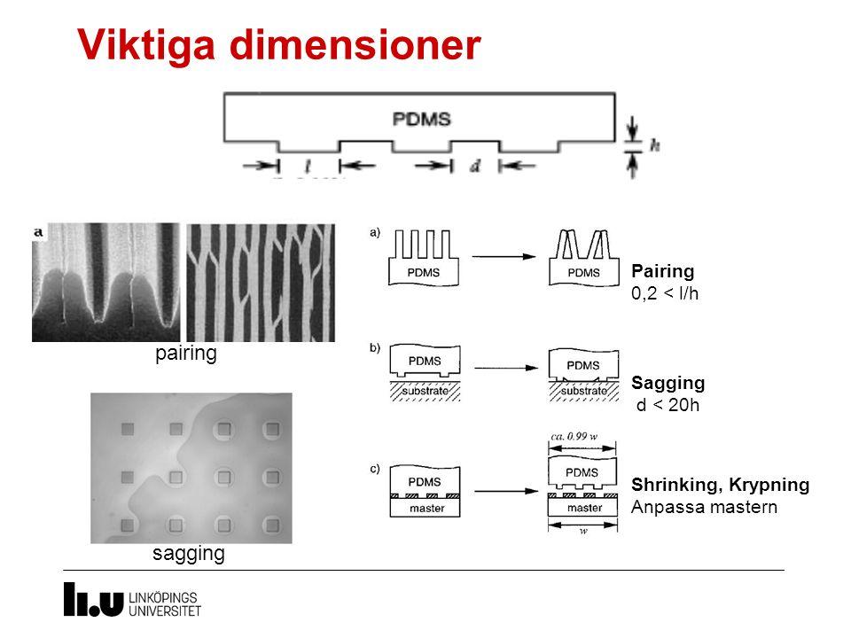Viktiga dimensioner pairing sagging Pairing 0,2 < l/h Sagging