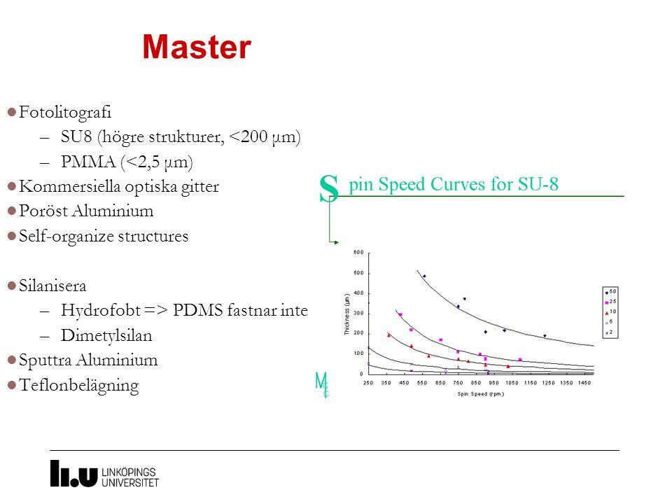 Master Fotolitografi SU8 (högre strukturer, <200 μm)