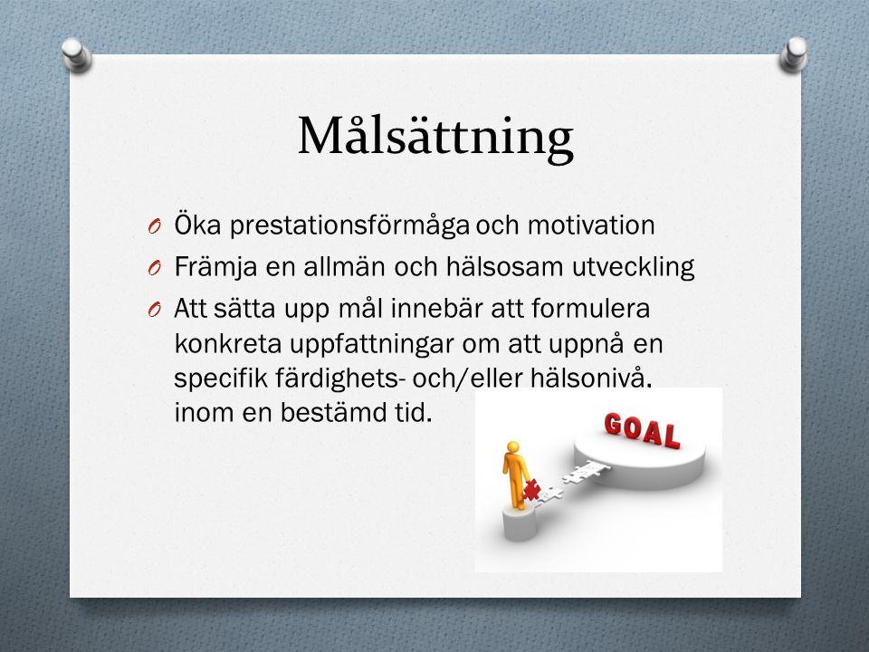 Målsättning Öka prestationsförmåga och motivation
