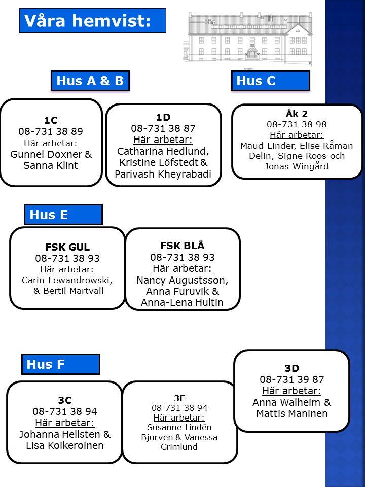 Våra hemvist: Hus A & B Hus C Hus E Hus F 1C 08-731 38 89 1D