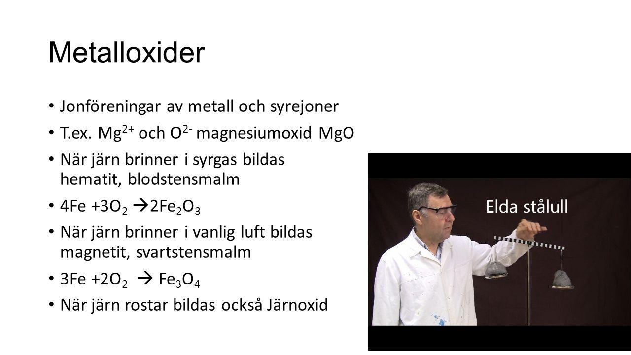 Metalloxider Jonföreningar av metall och syrejoner