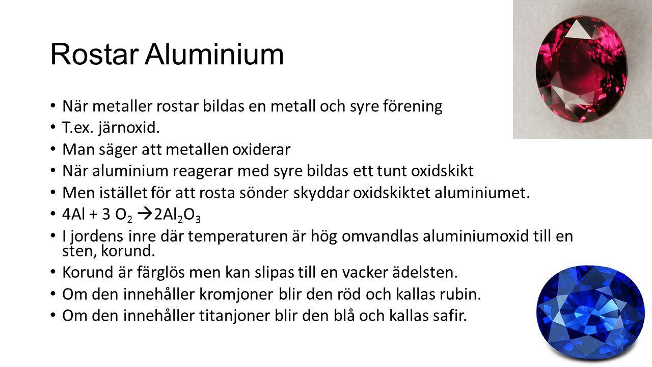 Rostar Aluminium När metaller rostar bildas en metall och syre förening. T.ex. järnoxid. Man säger att metallen oxiderar.